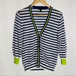 J. Crew blue striped with lime green cardigan, M